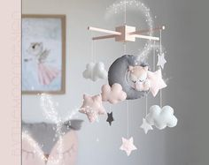 Fox, Moon, Clouds And Stars Baby Mobile - Blush Pink Nursery Decor - Baby Girl Gift - Cot / Crib - Baby