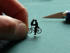 Bicycle Kissing Couple; hand-cut paper art