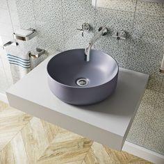 Mode Orion lilac grey coloured countertop basin 355mm Countertop Basin, Grey Countertops, Wall Mounted Basins, Lilac Grey, Basin Taps, Bathroom Basin, Basin Mixer, Vanity Units, Glazed Ceramic