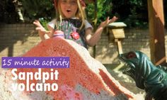Make a cool sandpit volcano with lava pouring out of the top like a real volcano! The kids will go nuts for this simple science experiment.