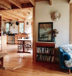 Cozy Cabin vibes made even better with our Monroe Velvet Sofa! Seen on Design Sponge