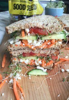 Mediterranean Veggie Sandwich - Just made this for lunch.  It was really, really good and I forgot to add the feta cheese!  It's going to be even better next time with the cheese.  I used microgreens instead of sprouts.  I used Dave's thin sliced 21 whole grains and seeds bread.  So tasty.