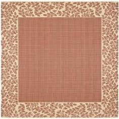 Power-loomed Indoor/ Outdoor Red/ Natural Rug (7'10 Square)