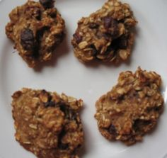 Healthy Cookie Recipes  First one ~1.5 cups rolled oats  2-3 ripe bananas  1-cup applesauce  dried cranberries or dried fruit of choice  cinnamon