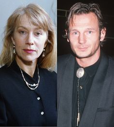 """Helen Mirren and Liam Neeson: Liam was a newcomer in Hollywood when he hooked up with his """"Excalibur"""" co-star Helen Mirren in 1980. The two even lived together in London."""