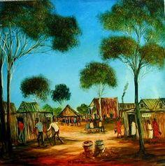 Australian Artist Pro Hart ~ 'Dunnies' (outside toilets to others) Landscape Paintings, Australian Art, Amazing Art, Painting, Australian Painting, African Art, Powerful Art, Landscape Art, Australian Painters