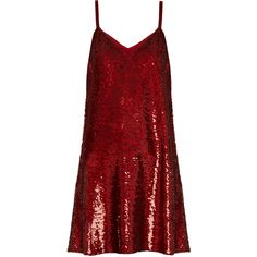 Ashish V-neck sequin-embellished mini dress (98.370 RUB) ❤ liked on Polyvore featuring dresses, dark red, dark red cocktail dress, red v neck dress, short red dress, dark red dress and sequin cocktail dresses