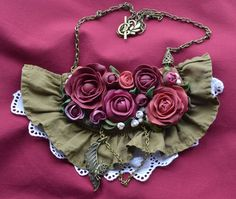 Necklace | Livia Handmade Designs.  Endless Summer. Polymer clay roses, linen, lace, brass chain
