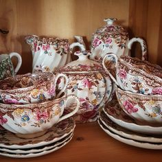 Antique Tea Cups, Antique Dishes, Vintage Dishes, Antique China, Vintage China, Vintage Tea, Cuppa Tea, China Patterns, My Tea