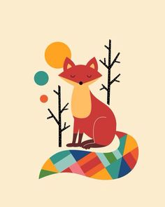 Buy Rainbow Fox Art Print by Andy Westface. Gallery-grade art prints and framed prints by living artists the world over. Worldwide shipping available. Art Fox, Fuchs Illustration, Fine Art Prints, Canvas Prints, Wall Prints, Wrapped Canvas, Cute Animals, Wall Art, Framed Art