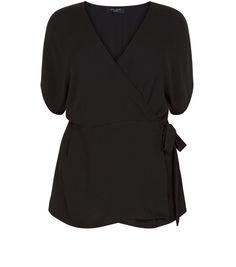 Black Side Wrap Top   New Look