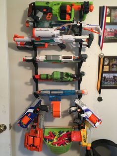 Shoe rack into a Nerf Gun rack