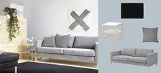 Sofá de 3 plazas KARLSTAD con funda Isunda gris y mesa auxiliar IKEA PS 2012 blanco/bambú