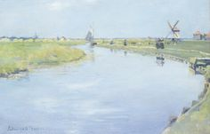Stanhope Alexander Forbes, RA (1857 - 1947). A Dutch River in Summer. Oil on panel, 8 x 11.5 ( 20 x 29,5cm)