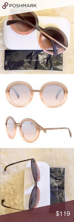 Marc By Marc Jacobs Ombre Oversized Sunglasses New With Tags - Womens oversized round sunglasses with gray-pink acetate frames and rose-gray lenses with 100% UVA/UVB protection. Hard case and cleaning cloth included. Marc by Marc Jacobs Accessories Sunglasses