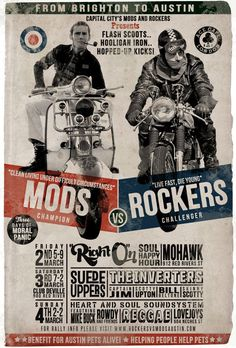 Mods (Vespas) vs the Rockers (Racers) ~ great typography on this poster