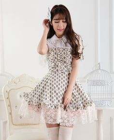 Short Sleeves Knee-length Yellow Princess Dress with Painted Eggs Sweet Lolita Dress Customize  #Lovejoynet
