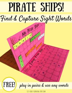 Sight Word Pirate Ships Sink your enemy's sight word pirate ships with this free board game!Sink your enemy's sight word pirate ships with this free board game! Spelling Activities, Sight Word Activities, Reading Activities, Teaching Reading, First Grade Reading Games, Writing Games For Kids, Spelling Games For Kids, Kids Reading Games, Literacy Games Middle School