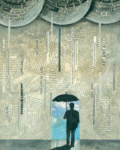 LUCKY Man Umbrella abstract rain by Elizabeth Rosen