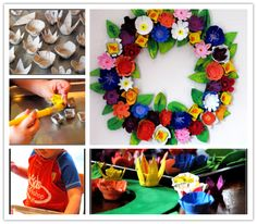 Easy Crafts For Kids - Recycled Egg Carton Wreath | DIY Tag