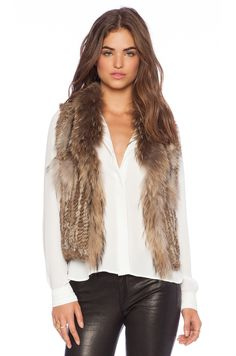 Jennifer Kate Short Rabbit Fur Gilet Vest in Caramel Size: Medium