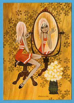 Postcard big eyed doll vintage 70s. Illustrator Barraguer. Do I look pretty