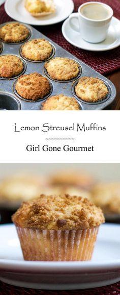 Quick & easy lemon streusel muffins! | girlgonegourmet.com