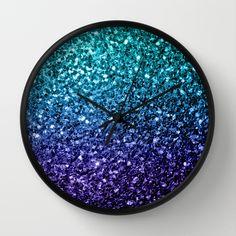 Aqua Blue Ombre glitter sparkles Wall Clock by #PLdesign #BlueSparkles #SparklesGift