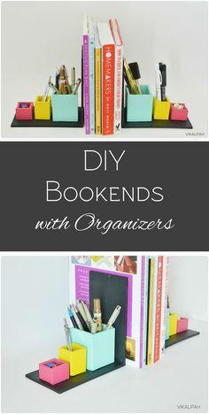 Diy bookends with organizers bookshelf organization, rental decorating, decorating tips, apartment makeover, Rental Decorating, Decorating Tips, Diy And Crafts Sewing, Diy Crafts, Diy Guide, Bookshelf Organization, Cool Bookshelves, Diy Blanket Ladder, 3d Cnc