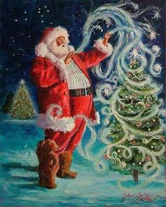 Santa decorating the tree.