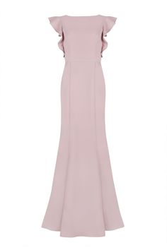 This stunning floor-length lace gown features our signature low V back. Complimented with delicate ruffles ...