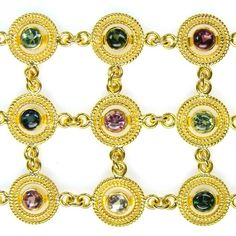 Damaskos Tourmaline Circles Bracelet. 18k Gold and Sapphires.This and more handmade Greek jewelry at Athena's Treasures: www.athenas-treasures.com