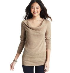 Button Cuff Cowl Neck Top | Loft
