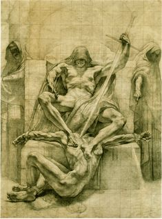 """ratatoskryggdrasil: """" setoshi-zombie: """" Jean Delville """" preparatory drawings for decorative panels meant for the Palace of Justice in Brussels. Fantasy Kunst, Fantasy Art, Jean Delville, Art Gay, Renaissance Kunst, Photographie Portrait Inspiration, Occult Art, Anatomy Art, Classical Art"""