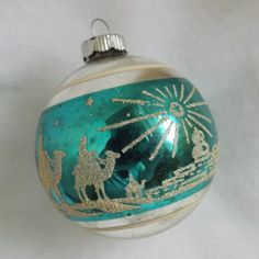 Vintage Shiny Brite Christmas blue glass mica stencil stripe ornament 3 Wise Men Star of Bethlehem by thevintageelf Old World Christmas Ornaments, Christmas Things, Christmas Past, Christmas Toys, Christmas Tree Toppers, Retro Christmas, Christmas Balls, Christmas Decorations To Make, Christmas Ideas