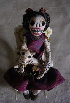 Frida and her skeleton Xoloitzcuintli dog