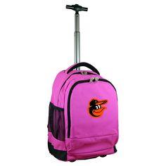 MLB Baltimore Orioles Premium Wheeled Backpack - Pink