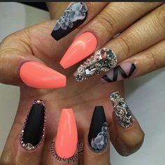Matte black and orange nails