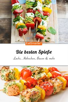 The best recipes for skewers - Silvester-Fingerfood-Rezepte - Party Skewer Recipes, Shrimp Recipes, Meat Recipes, Snack Recipes, Healthy Recipes, Healthy Eating Tips, Healthy Nutrition, Raw Vegetables, Snacks Für Party