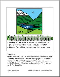 Sorting animals based on where they live: on land, in the air, or in the water