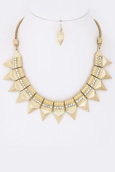 Phoenix Crystal Stud Necklace - Gold