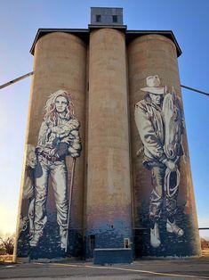 Rosebery, Victoria - Silo Art Trail - Australia's number one must do road trip - Great Australian Adventure Murals Street Art, Art Mural, Street Art Graffiti, Banksy, Australian Painting, Australian Artists, Water Tower, Covered Bridges, Street Artists