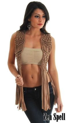 Macrame Vest Long Fringe Bronze Beads Knot Work Vtg Vintage Boho Style Tan New S   eBay