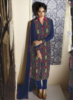 Buy Blue color georegette party wear straight cut salwar kameez at kollybollyethnics with free worldwide shipping.