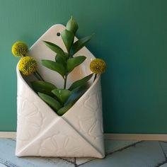 Etsy の porcelain envelope wall vase by potteryandtile