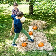Pumpkins aren't just for the porch! Make the most of the season's harvest with this easy outdoor game of tic-tac-toe. 1. Spread a layer of hay in a square. 2. Lay sticks to form the tic-tac-toe board. 3. Set out a total of 10 pumpkins: five white and five orange.
