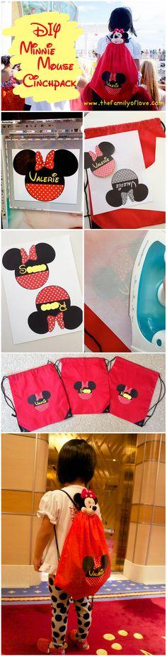 DIY Wednesday Disney Mickey Minnie Mouse Cinchpack Backpack- Disney World/ Disney Trip/ Disney Cruise