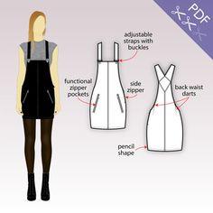 XS-XL Jupe chasuble en denim avec poches à glissière et bretelles ajustables (Patron pdf pour denim/twill)