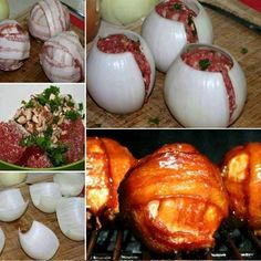 These BBQ Meatball Onion Bombs will wow all your guests! Meatloaf Balls are stuffed with mushrooms, onion and herbs then wrapped in more onion and bacon. They take just 10 minutes to put together. They are as yummy as they look! Grilling Recipes, Meat Recipes, Dinner Recipes, Cooking Recipes, Healthy Recipes, Appetizer Recipes, Appetizers, Good Food, Yummy Food