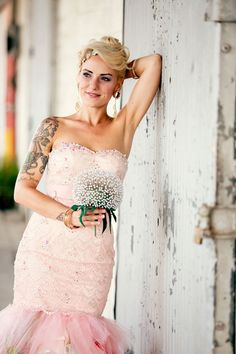 """diy """"dandelion"""" bouquet and bejeweled pink mermaid dress // photos by Hartman Outdoor Photography: http://www.hartmanoutdoorphotography.com 